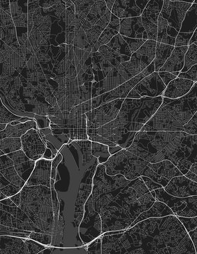 Urban vector city map of Washington DC, District of Columbia, United States of America