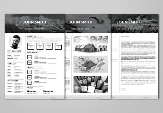 Resume and Cover Letter Layout with Gray Accents