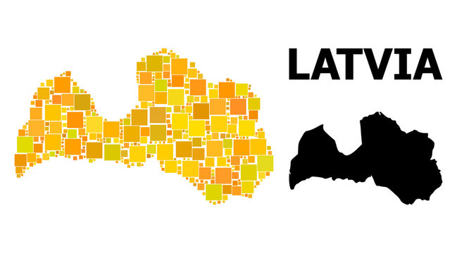Gold Square Pattern Map of Latvia