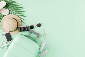 Wall Mural - Flat lay Green suitcase with traveler accessories on green background. travel concept. 3d rendering