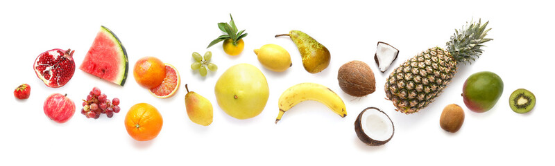 Fototapete - Fruits isolated on white background, top view. Creative composition of tropical fruits, flat layout.