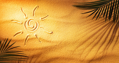 Hot Tanning Concept - Sun Drawn On The Sand With Palm Leaves And Shadow