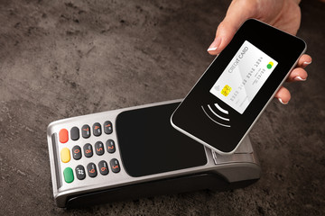 Transaction completed on terminal with mobile credit card