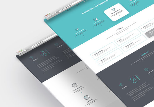 Company Portfolio Website Layout with Graphic Icons