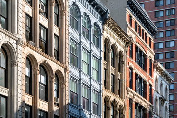 Block of historic old buildings on Broadway in Lower Manhattan, New York City