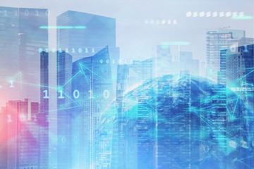 Fotobehang - Earth hologram and global digital network in city