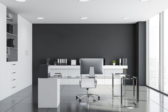 Gray and white manager office interior