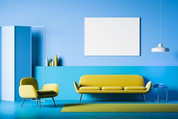 Blue living room interior with poster