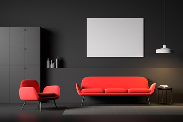 Black living room interior with poster