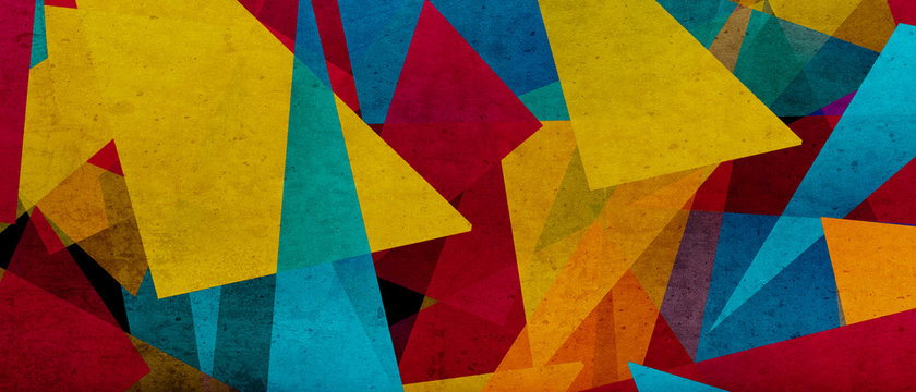 illustration of triangles and angled shapes,  colorful abstract background with geometric elements, panoramic image