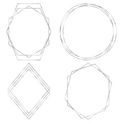 Geometric Polygonal Frames - Set of 4 trendy frames with copy space