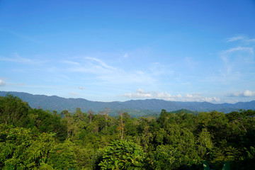 Bright background sky Fertile mountains And enjoy, with your eyes and the sky clear, in Pattani...