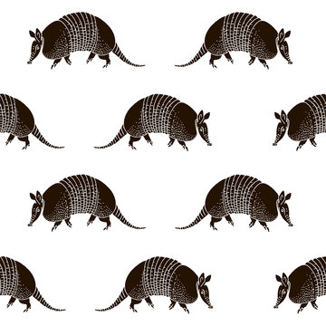 Seamless pattern with armadillos.