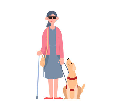 A blind girl wearing sunglasses with a seeing-eye dog. Disabled person. Flat cartoon vector illustration.