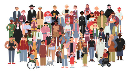 Socially diverse multicultural and multiracial people on an isolated white background. Happy old and young women and men with children, as well as people with disabilities standing together. Vector Wall mural