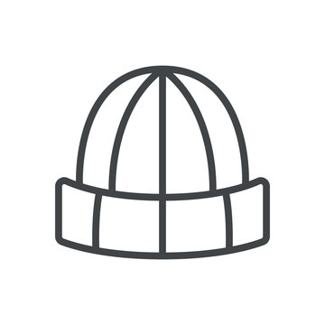 Line icon with winter hat