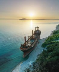 Acrylic Prints Shipwreck Shipwreck. Dry cargo ship left on coast.