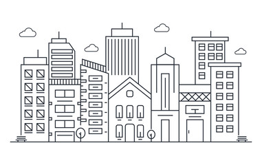 Thin line style city panorama. Illustration of urban landscape skyline city office buildings. Outline cityscape