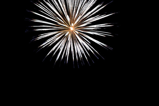 golden yellow fireworks on an isolated black background for design decoration of holidays, the new year, as well as independence day on July 4