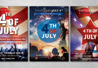 July 4th Flyer Layouts with Photo Placeholders