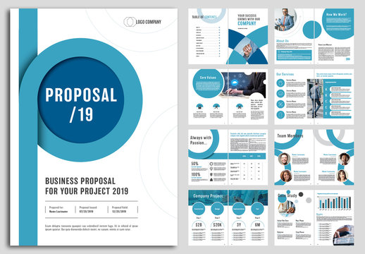 Business Proposal Layout with Blue Circular Accents