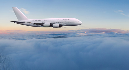 Türaufkleber Flugzeug Huge two-storey passengers commercial airplane flying above dramatic clouds. Travel and business concept.