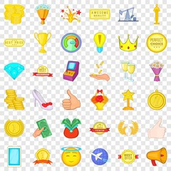 First place icons set. Cartoon style of 36 first place vector icons for web for any design