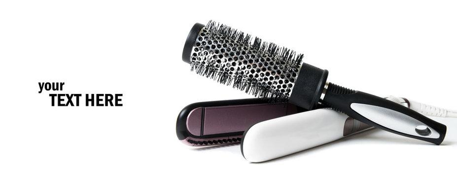 Female steam hair dryer on white,Curling iron