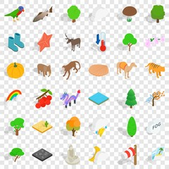 Jungle icons set. Isometric style of 36 jungle vector icons for web for any design
