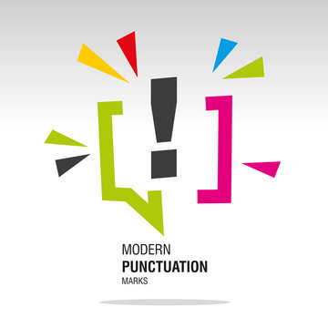Exclamation mark modern colorful punctuation sign icon sticker