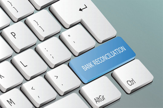 bank reconciliation written on the keyboard button