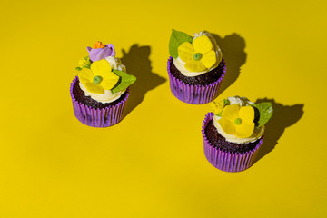 Cupcake in purple wrap on solid yellow background with strong shadow. Pop art. Trendy funky...