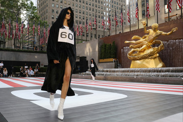 """Model Kaia Gerber walks the runway during rehearsals for the presentation of Alexander Wang's """"AW Collection 1"""" at the Rockefeller Center in New York"""