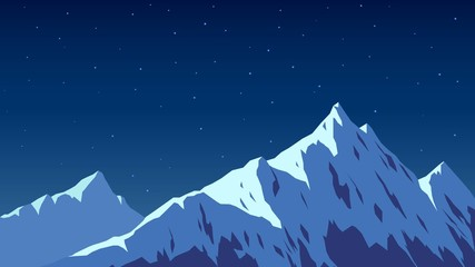 Poster Bleu nuit Snowy top of the mountain, night and moon light, Alps, landscape