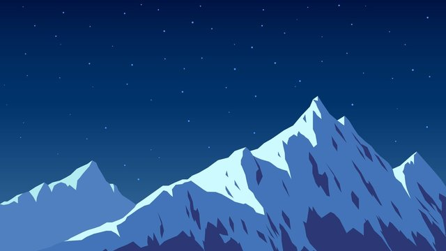 Snowy top of the mountain, night and moon light, Alps, landscape