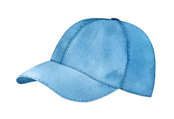 Casual baseball cap watercolour illustration. Headwear to stay safe under the summer sun. One single object, navy blue color, side view. Handdrawn graphic painting, cutout clip art element for design.