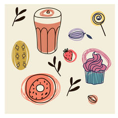 Food pattern hand drawn illustration isolated on background