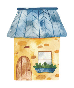 Watercolor cute cartoon house. Great for baby shower, birthday, invitations, invitation cards, blogs, summer projects, nurseries, cards.