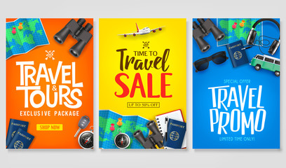 Travel Poster Vector Set Template with Creative Stylish Text Logo and Realistic 3D Traveling Item Elements Good for Digital and Print Design. For Promotional Purposes Fotobehang