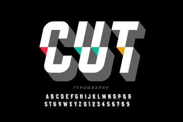 Cut font, modern style shifted alphabet and numbers