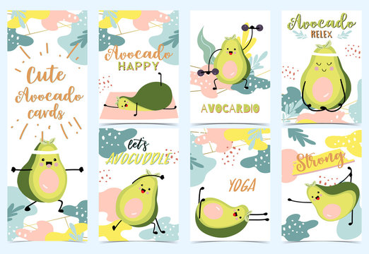 Collection of green avocado set with leaf,avocado exercise
