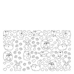 Vector set of beautiful round icons in the form of wild animals for children and design, print, cat ,bear, fox, bird ,hare or rabbit. Round animals with caption on white background