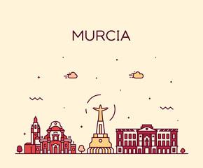 Fototapete - Murcia skyline Spain vector drawn linear style