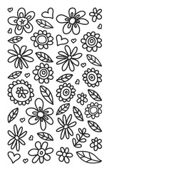 Vector set of child drawing flowers icons in doodle style. Painted, black monochrome, pictures on a piece of paper on white background.