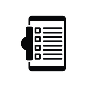 Black solid icon for task clipboard