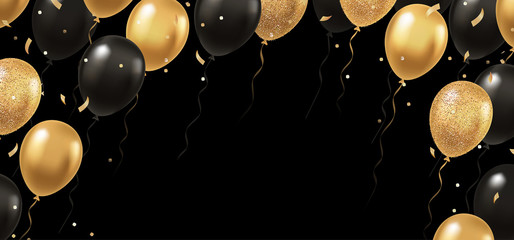 Obraz Celebration, festival background with helium balloons. Greeting banner or poster with gold and black realistic 3d vector flying balloons. Celebrate a birthday poster. Happy anniversary card.  - fototapety do salonu