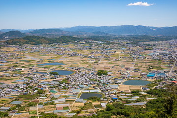 Landscape of countryside with farm reservoirs ,Shikoku,Japan