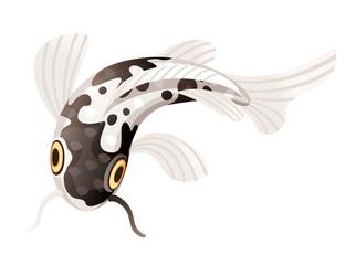 Koi carp japanese symbol of luck fortune prosperity black dotted koi carp cartoon flat vector illustration isolated on white background