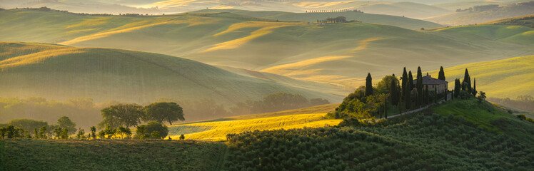 Morning golden Tuscany hills. Italy Fototapete
