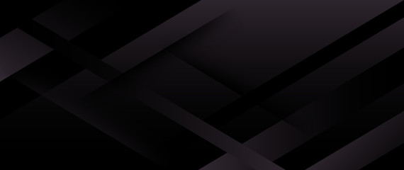 Horizontal black abstract banner with graphic elements.